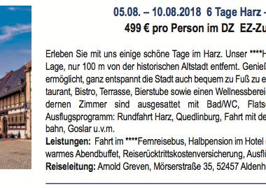 6 Tage Harz - Wernigerode 05.08.-10.08.2018